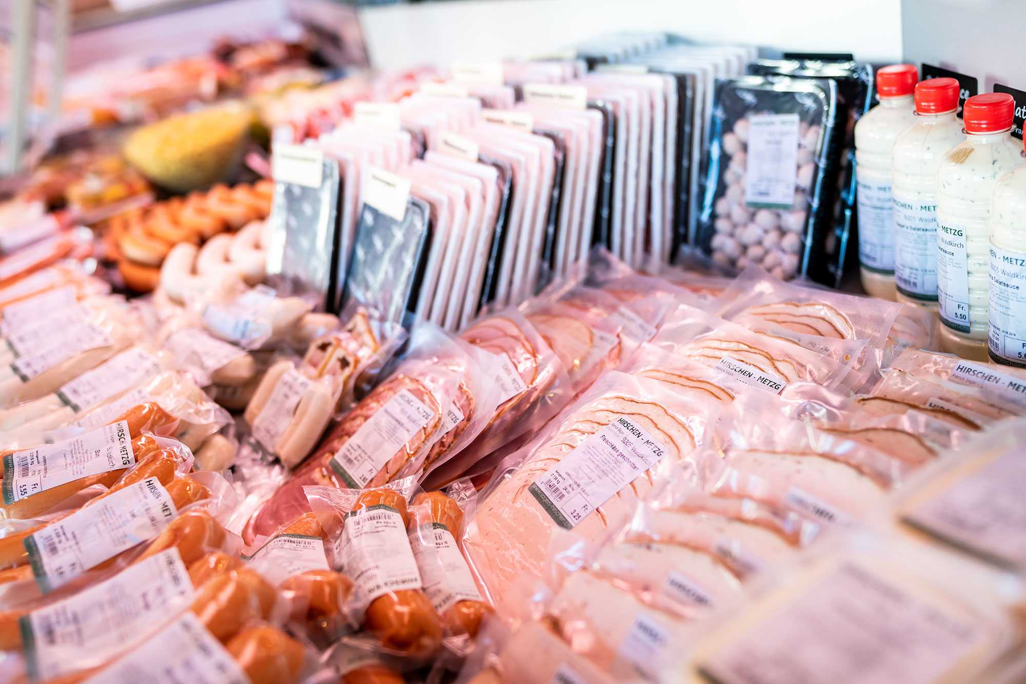 Hirschen Metzg abgepacktes Fleisch im Verkauf